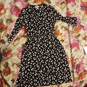 black and white polka dot jersey dress